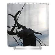 Deer Skull In Wire Shower Curtain