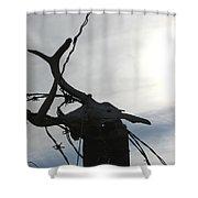 Deer Skull In Wire Shower Curtain