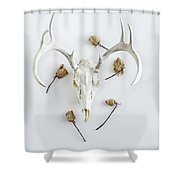 Deer Skull With Antlers And Roses Shower Curtain