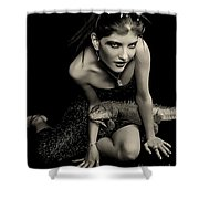 Defensive Posture Shower Curtain