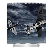 Defensive Split  Shower Curtain