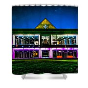 Defiance College Library Night View Shower Curtain
