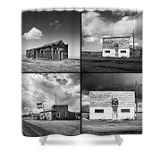 Defunct Country Taverns On North Dakota Prairie Composite Square Shower Curtain