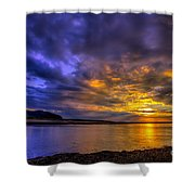 Deganwy Sunset Shower Curtain by Adrian Evans