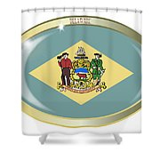 Delaware State Flag Oval Button Shower Curtain