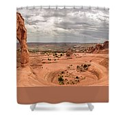 Delicate Arch Panoramic Shower Curtain by Adam Romanowicz
