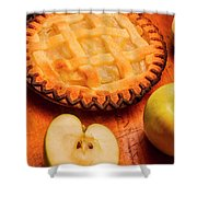 Delicious Apple Pie With Fresh Apples On Table Shower Curtain