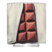 Delicious Chocolate Bar In Wrapping On Plate Shower Curtain