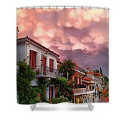 Delphi Greece Sunset Shower Curtain