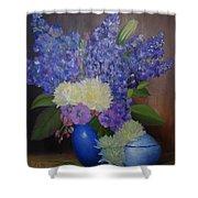 Delphiniums In Blue Vase Shower Curtain