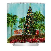 Delray Beach Christmas Tree Shower Curtain