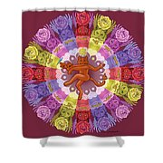 Deluxe Tribute To Tuko - Maroon Background Shower Curtain