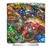 Demo Derby One Shower Curtain by Jame Hayes