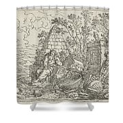 Democritus Mediterend, Jonas Umbach, 1634 - 1693 Shower Curtain