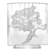 Denali Art Print Contour Map Of Denali In Alaska Shower Curtain