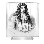 Denis Papin With Steam Engine Diagram Shower Curtain