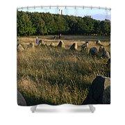 Denmark, Lindholm Hoeje Viking Burial Shower Curtain