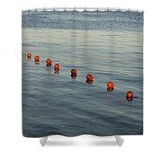 Denmark Red Safety Balls Floating Shower Curtain