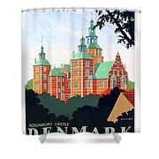 Denmark, Rosenborg Castle, Vintage Travel Poster Shower Curtain