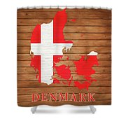 Denmark Rustic Map On Wood Shower Curtain