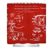 Dentists Chair Patent 1892 In Red Shower Curtain