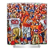 Denver Broncos Peyton Manning Oil Art Shower Curtain