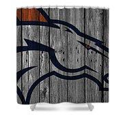 Denver Broncos Wood Fence Shower Curtain