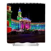 Denver City County Building Holiday Lighting. Shower Curtain
