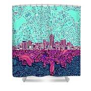 Denver Skyline Abstract 7 Shower Curtain