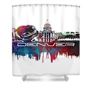 Denver Skyline City Blue Shower Curtain