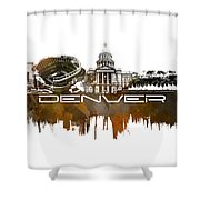 Denver Skyline City Brown Shower Curtain