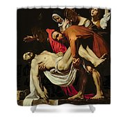 Deposition Shower Curtain by Michelangelo Merisi da Caravaggio