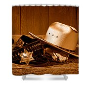 Deputy Sheriff Gear - Sepia Shower Curtain