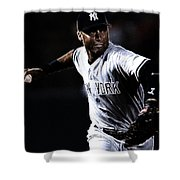 Derek Jeter Shower Curtain by Paul Ward