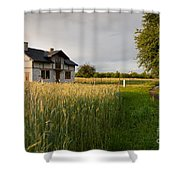 Derelict Disused House In Field Shower Curtain