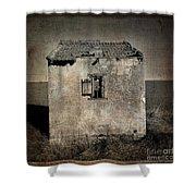 Derelict Hut  Textured Shower Curtain