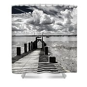 Derelict Wharf Shower Curtain by Avalon Fine Art Photography