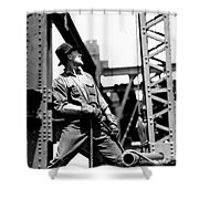 Derrick Man   Empire State Building Shower Curtain by LW Hine