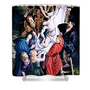 Descent From The Cross After Peter Paul Rubens Shower Curtain