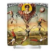 Descente D'absalon Par Miss Stena - Aerialists, Circus - Retro Travel Poster - Vintage Poster Shower Curtain