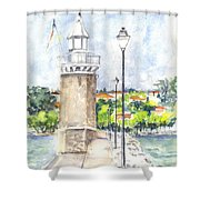 Desenzenzo Lighthouse And Marina In Italy Shower Curtain