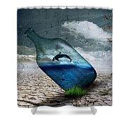 Desert Dolphin Bottle Nature Shower Curtain