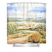 Desert Landscape Watercolor Shower Curtain