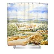 Desert Landscape Watercolor Shower Curtain