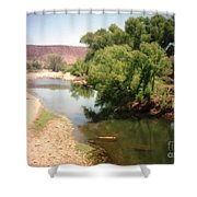 Desert Pond And Dry Mountains Shower Curtain