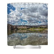 Desert River Cloud Reflection Shower Curtain