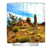 Desert Scene Near Sedona Arizona Painting Shower Curtain