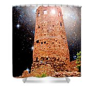 Desert View Tower, Starry Night, Grand Canyon Shower Curtain