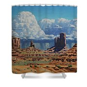 Rainstorm Over Monument Valley Shower Curtain