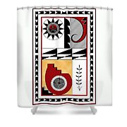 Southwest Collection - Design Five In Red Shower Curtain